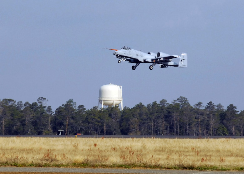 An A-10C Thunderbolt II takes off from Eglin Air Force Base, Fla., March 25, 2010, marking the first flight of an aircraft powered solely by a biomass-derived jet fuel blend. The A-10 was fueled with a 50/50 blend of Hydrotreated Renewable Jet and JP-8.  (U.S. Air Force photo/Samuel King Jr.)