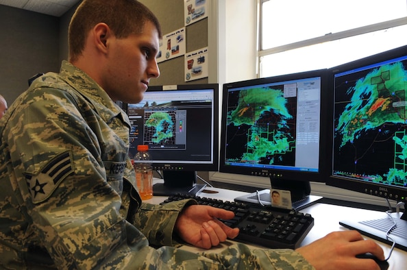 BARKSDALE AIR FORCE BASE, La. -- Senior Airman Christopher Kerbow, 26th Operational Weather Squadron weather forecaster, obverses a storm in his assigned region March 24. The 26th OWS is undergoing upgrades to equipment and software to enhance weather forecasting and storm reporting. (U.S. Air Force photo by Airman 1st Class Joseph Boals)