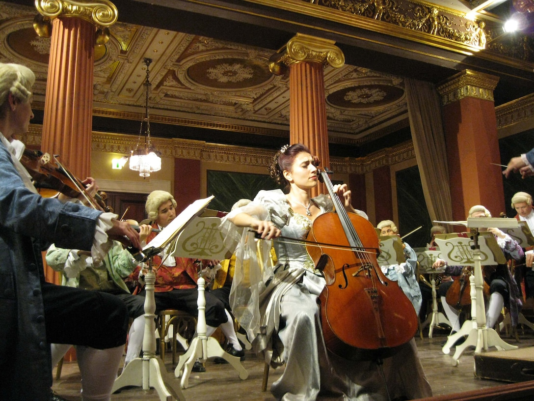 Members of the Vienna Mozart Orchestra perform during a concert Oct 17, 2009 in Vienna, Austria. Many groups have formed in Vienna that are dedicated to performing Mozart's music. (U.S. Air Force photo/2nd Lt. Brian Wagner)