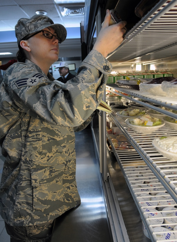 Senior Airman Christina Moran, 39th Medical Group Public Health technician, inspects food inside the Sultan's Inn at Incirlik Air Base, Turkey. Public Health has an array of responsibilities when it comes to keeping the base healthy including inspecting all facilities that serve food on base, ensuring the readiness of deploying Airmen and educating the public about safe sex. (U.S. Air Force photo/Senior Airman Sara Csurilla)