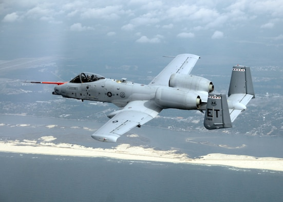 An A-10C Thunderbolt II from Eglin Air Force Base, Fla., flies along the coast of Florida March 25, 2010, during the first flight of an aircraft powered solely by a biomass-derived jet fuel blend. The A-10 was fueled with a 50/50 blend of Hydrotreated Renewable Jet and JP-8. (U.S. Air Force photo/Senior Master Sgt. Joy Josephson)