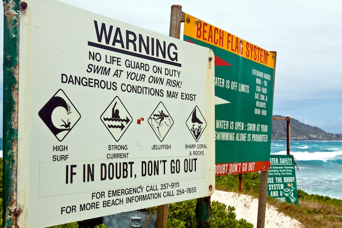 Despite their allure, beaches can be a hazardous uncontrolled environment. Marine Corps Base Hawaii officials stress heeding warnings posted on the beaches, advisories and speaking with a lifeguard before entering the water.