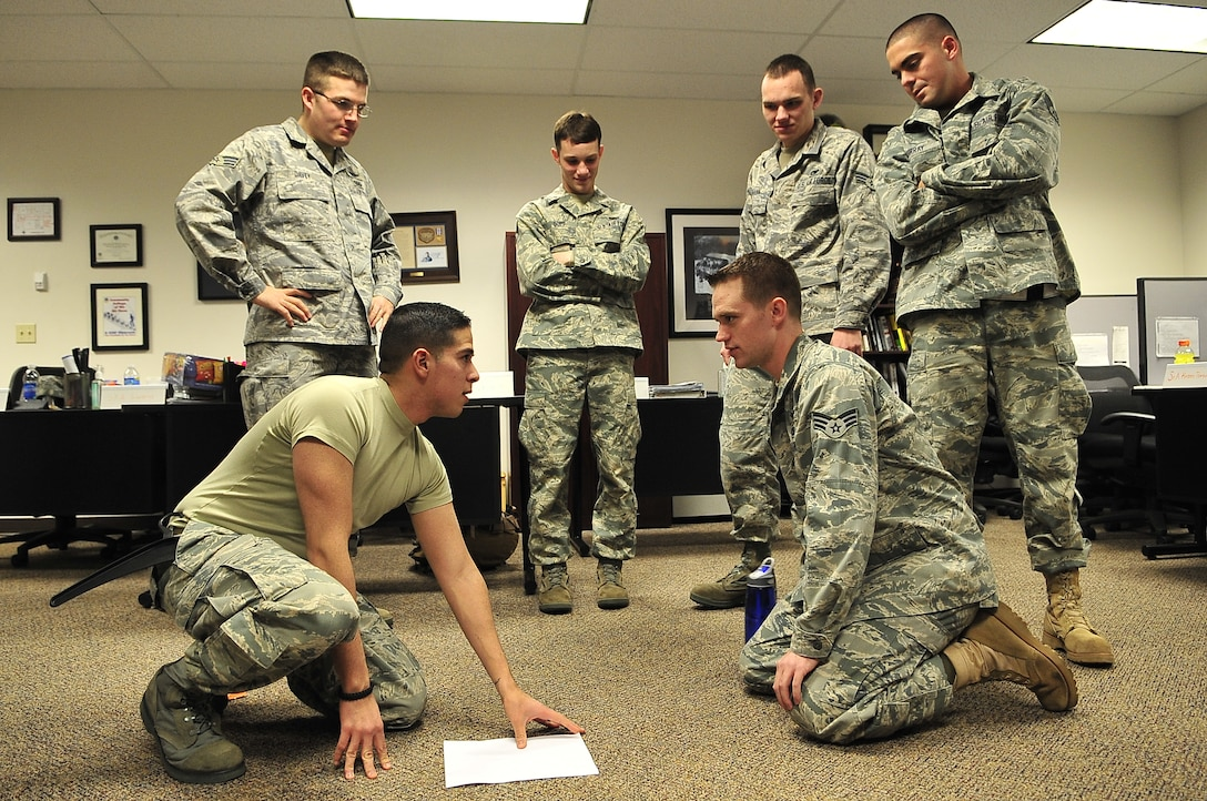 BUCKLEY AIR FORCE BASE, Colo. -- Senior Airmen at Buckley Airman Leadership School participate in a class exercise March 3. ALS trains today's Airmen to become tomorrow's leaders. (U.S. Air Force photo by Senior Airman Kathrine McDowell)