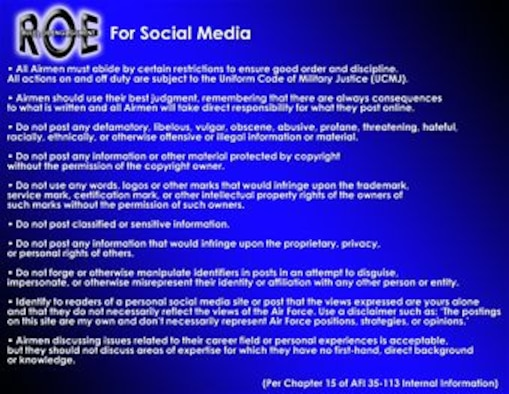 In April, Air Force personnel will be allowed to access Internet-based social media sites via the Air Force Network for official use and limited personal use. All Airmen must use due diligence when posting information online and must always follow Joint Ethics regulations, operations security and pubished rules of engagement. (U.S. Air Force graphic)