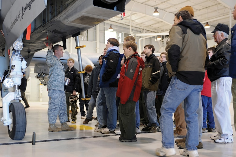 Capt. Jason Weiser 442nd Maintenance Operations Flight commander briefs Boy Scouts about the A-10 Thunderbolt II during a tour of Whiteman Air Force Base Feb. 27, 2010. The 442nd Fighter Wing is an Air Force Reserve unit at Whiteman.(U.S. Air Force photo/Staff Sgt. Jason Huddleston)