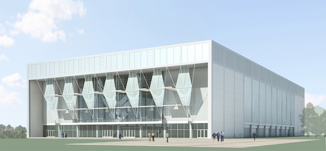 The Air Force Academy received a $5-million donation through the USAFA Endowment March 15 to fund the construction of an indoor training facility. Shown here is an artist's conception of the facility, which is scheduled to be completed in 2011. (courtesy image/USAFA Endowment)