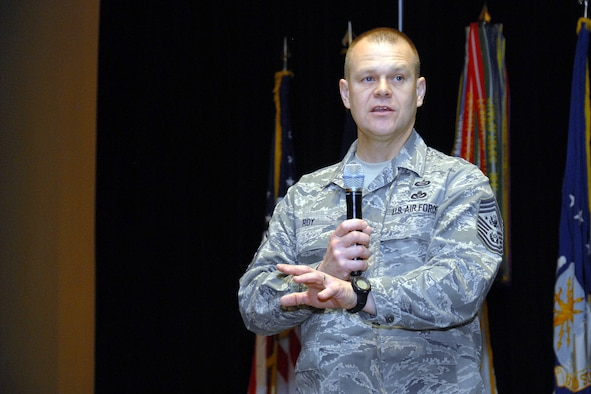 Chief Master Sgt. of the Air Force James A. Roy addresses about 360 attendees at the third joint Michigan National Guard Senior Noncommissioned Officer Conference Feb. 6, 2010, in Grand Rapids, Mich. Chief Roy is a native of Monroe, Mich. (U.S. Air Force photo/Master Sgt. Clancey Pence)
