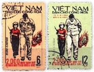 Vietnamese stamps portraying the capture of then Airman First Class Bill Robinson.