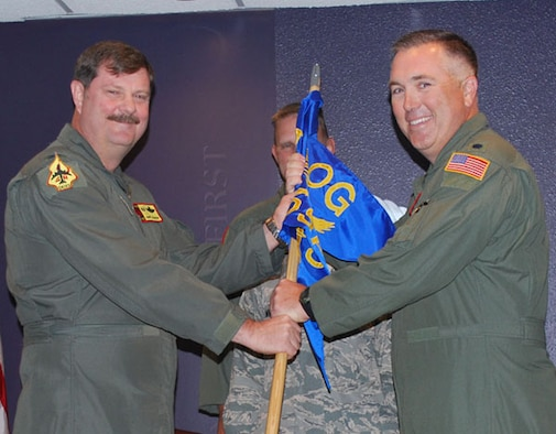 Lt. Col. Richard Peterson accepts command of the 507th Operations Support Flight on April 10, 2010 from Col. Gregory Gilmour. Peterson was the former director of Operations, 465th Air Refueling Squadron. Peterson received his commission from Officer Training School after graduating from the University of Texas, Austin. Peterson is a Command Pilot with more than 2,700 military flying hours, including combat in Bosnia, and 7,200 civilian. He has flown the T-37, T-38, A- 10 and KC-135R.
