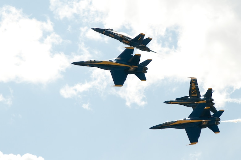 The Blue Angels perform at the Sound of Speed Air Show, hosted at the 139th Airlift Wing in St. Joseph, MO., May 2nd, 2010. (U.S. Air Force photo by Master Sgt. Shannon Bond/Released)