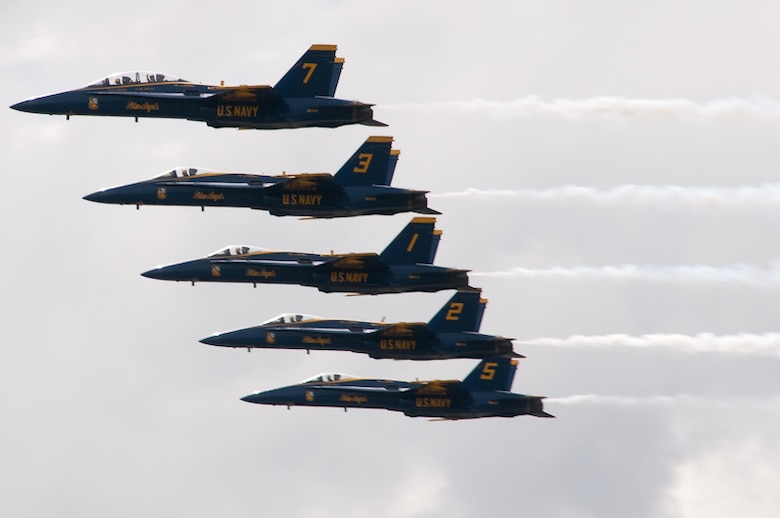 The 139th Airlift Wing hosts the Sound of Speed Air Show on the base in St. Joseph, Mo., Friday, April 30, 2010.  The star of the Air Show is the Navy's Blue Angels.  (Photo by Airman 1st Class Kelsey Stuart/Released)