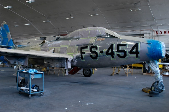 Dayton, Ohio (05/2010) -- F-84 in the Restoration Hangar at the National Museum of the U.S. Air Force. (U.S. Air Force photo)