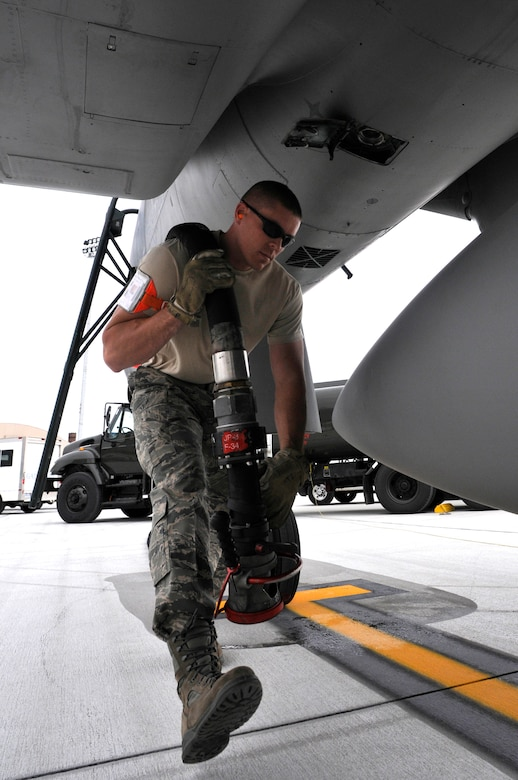 Staff Sgt. Justin Phillips, 125th Fighter Wing POL, prepares to fuel an F-15 Eagle during the 125th Fighter Wing's deployment to the Combat Readiness Training Center (CRTC), Savannah, GA, March 12, 2010. The Wing's deployment to Savannah CRTC March 6- March 20, 2010, was a rare opportunity for our F-15 pilots to fly Large Force Employment missions (LFE's), with other units and for wing members to build camaraderie on and off duty. (Air Force Photo by Tech. Sgt. Shelley Gill)