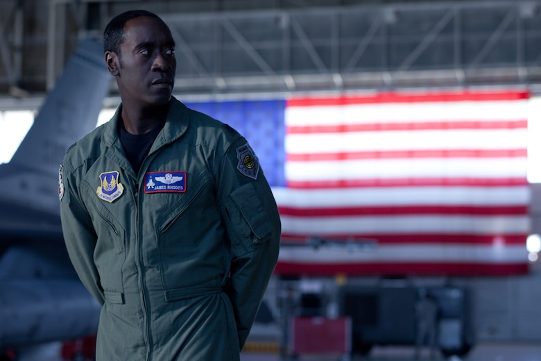 Actor Don Cheadle acts in a scene from Iron Man 2, which hits the theaters on May 7.  Scenes from the movie filmed in Los Angeles and at Edwards AFB featured Airmen as extras.  (Marvel Courtesy Photo)