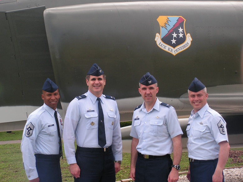 Chief Master Sgt. Darryl Morris, 67th Network Warfare Wing, command chief, Lackland Air Force Base, Texas; Col. Bradford Shwedo, 67th NWW commander; Col. Stephen Whiting, 21st Space Wing commander, Peterson Air Force Base, Colo.; and  Chief Master Sgt. Robert Sealey 21st SW command chief met April 19 to tour the 67th NWW and talk with Airmen from the unit.  Colonel Whiting and Chief Sealy hosted Colonel Shwedo and Chief Morris in a similar visit to Peterson Air Force Base, Colo. April 9 to tour the 21st SW and discuss ongoing integration of space and cyber. With the newly-formed 24th Air Force participating in Guardian Challenge for the first time, the 21st SW and 67th NWW have been paired as sister wings. (US Air Force photo)