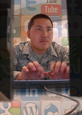 Air Education and Training Command officials authorized access to 29 social media sites like Facebook, Twitter and Gmail, on government computers in April. Personnel must have their supervisor's authorization prior to accessing these sites and must follow Directive-Type Memorandum 09-026 and Air Force Instruction 33-129. (U.S. Air Force photo illustration/Senior Airman Tong Duong)