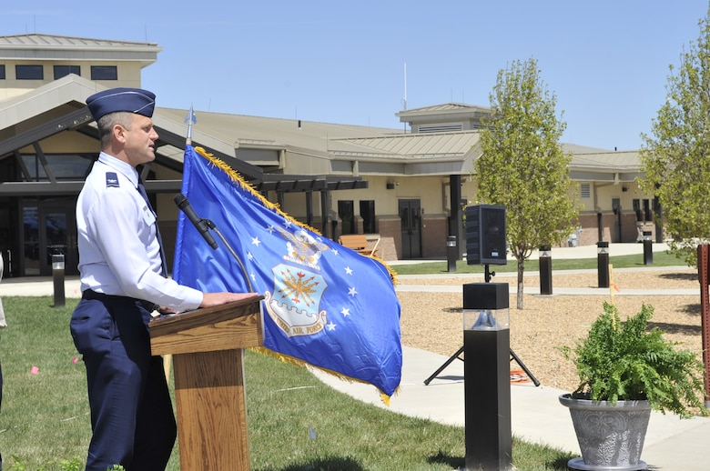 BUCKLEY AIR FORCE BASE, Colo. -- Col. Trent Pickering, 460th Space Wing vice commander, gives opening remarks during the groundbreaking ceremony for a new youth center next to the A-Basin Child Development Center. (U.S. Air Force photo by Airman 1st Class Paul Labbe)