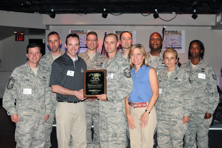KNOXVILLE, Tenn. -- Servicemembers from The I.G. Brown Air National Guard Training and Education Center, McGhee Tyson ANGB here accept a first place award for the Fittest Company Challenge from the Knoxville Area Chamber Partnership during a ceremony held in Market Square in downtown Knoxville, May 13.  The competition, held March 28 during the Covenant Health Knoxville Marathon, was a friendly contest among area businesses designed to promote a healthy lifestyle and in turn create healthy employees.  (U.S. Air Force photo by Master Sgt. Kurt Skoglund)