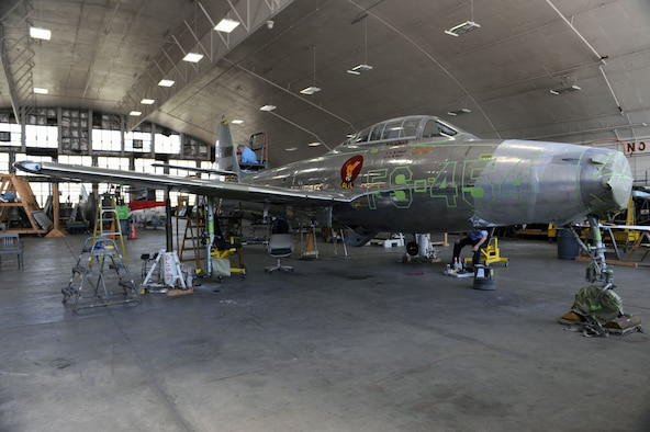 Dayton, Ohio (04/2010) -- F-84 in the Restoration Hangar at the National Museum of the U.S. Air Force. (U.S. Air Force photo/Master Sgt. William Greer)