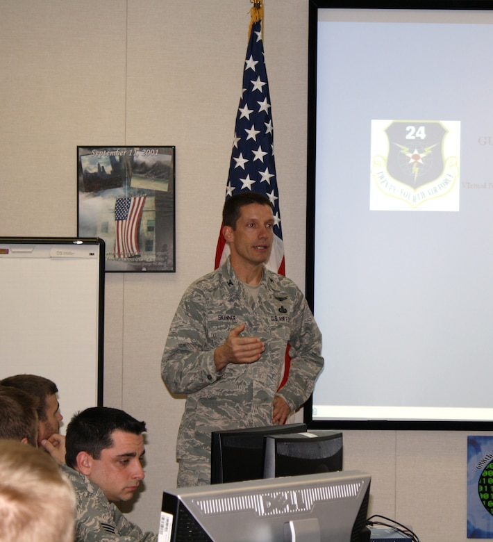 Col. Bob Skinner, 688th Information Operations Wing commander, welcomes competitors to the 688th IOW's first Guardian Challenge competition. (US Air Force photo)