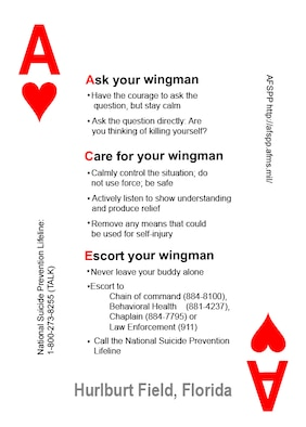 The ACE card logo used to remind Airmen about the importance of suicide prevention. (Courtesy graphic of the 1st Special Operations Medical Operations Squadron)