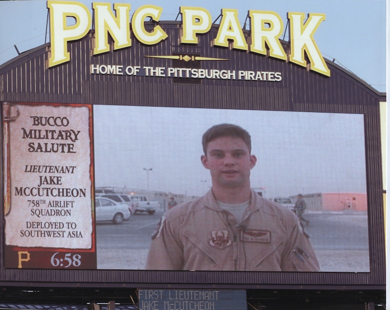 Lt. Jake McCutcheon, while deployed overseas sent home a video greeting which aired on the PNC Park scoreboard during a recent Pittsburgh Pirates home game. Sgt. George said hello to his family and kicked off the game as part of the 'Bucco Military Salute' program. Lt.. McCutcheon was part of the operations and maintenance package which returned May 19 after a successful 120-day AEF rotation in support of contingency operations overseas. (photo courtesy of the Pittsburgh Pirates)