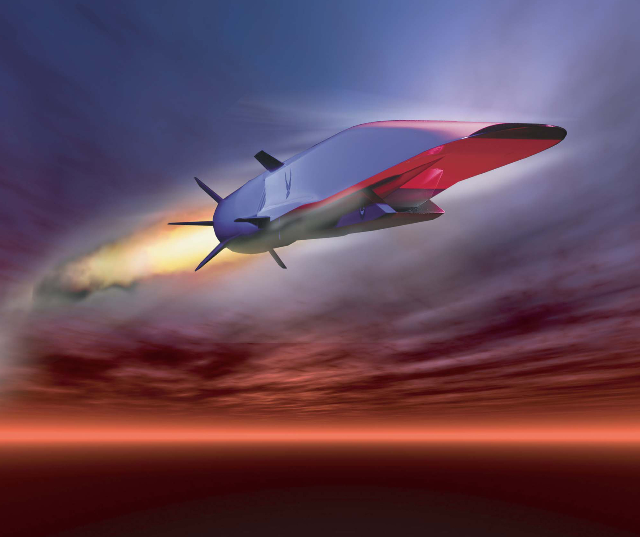 The X-51A Waverider is set to demonstrate hypersonic flight. Powered by a Pratt & Whitney Rocketdyne SJY61 scramjet engine, it is designed to ride on its own shockwave and accelerate to about Mach 6. (U.S. Air Force graphic)