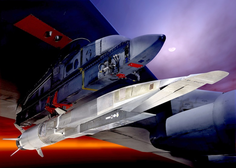 The X-51A Waverider, shown here under the wing of a B-52 Stratofortress, is set to demonstrate hypersonic flight.  Powered by a Pratt & Whitney Rocketdyne SJY61 scramjet engine, it is designed to ride on its own shockwave and accelerate to about Mach 6.  (U.S. Air Force graphic)