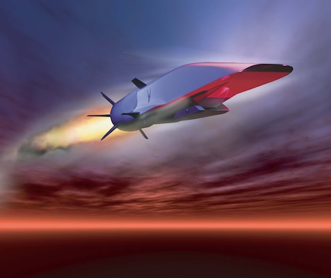 X-51A Waverider, powered by Pratt Whitney Rocketdyne SJY61 scramjet engine, prepares for hypersonic flight by riding its own shockwave, accelerating to nearly Mach 6 (U.S. Air Force graphic)