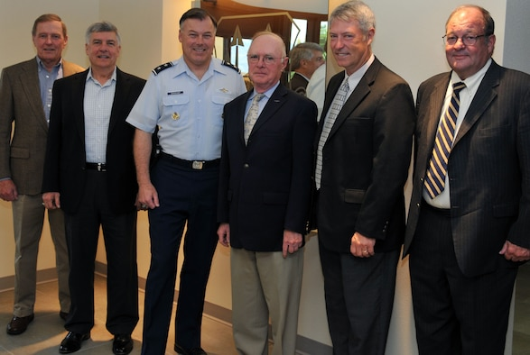 The Air Force Operational Test and Evaluation Center hosted four former AFOTEC commanders May 17-18 at AFOTEC's headquarters at Kirtland Air Force Base, N.M. From left to right: retired Maj. Gen. Michael Hall (1985-1987); retired Maj. Gen. Felix Dupré (2003-2005) ; Maj. Gen. Stephen T. Sargeant, AFOTEC commander; retired Maj. Gen. George Harrison (1993-1997); retired Maj. Gen. Ken Peck (2000-2003); and Dave Hamilton, AFOTEC Executive Director. (Photo by George Diamond).