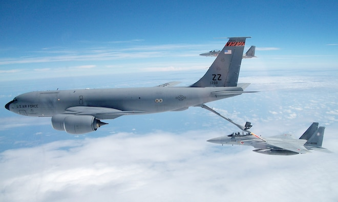 Crewmembers on a 909th Air Refueling Squadron KC-135 Stratotanker refuel a Japan Air Self Defense Force F-15 Eagle during bilateral air refueling training May 17, 2010, at Kadena Air Base, Japan. (Courtesy photo)