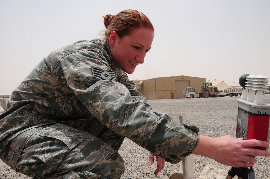 U.S. Air Force Staff Sgt. Kimberly Cribbs, 386th Expeditionary Operations Support Squadron weather technician, conducts a manual weather observation May 25, 2010 at an air base in Southwest Asia. Sergeant Cribbs is a West Milford N.J. native deployed from McGuire Air Force Base, N.J. (U.S. Air Force photo by Staff Sgt. Lakisha A. Croley/Released)