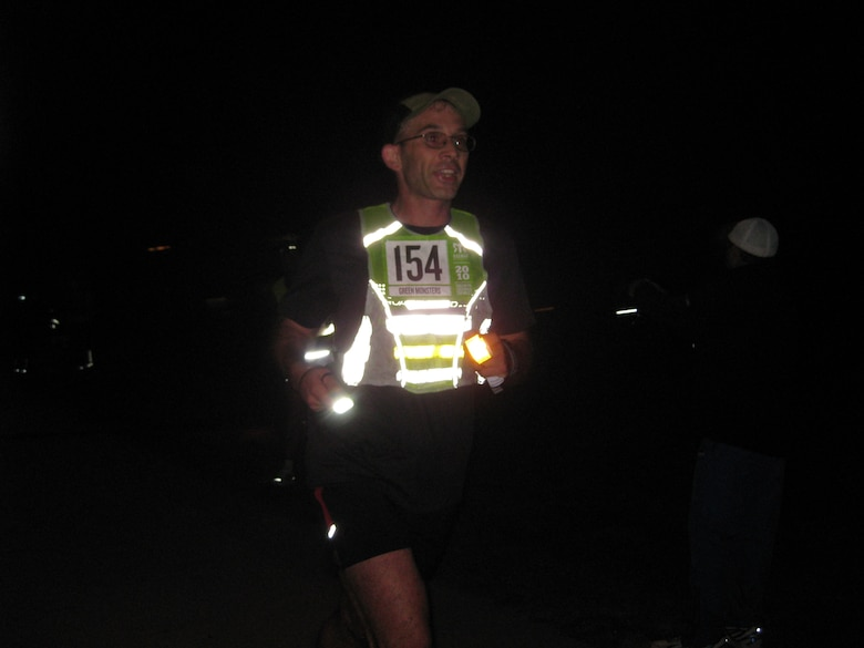 Lt .Col. Shawn Brennan glows in the dark. Teams from GPWS ran a 200 mile relay from Ventura to Dana Point, Calif., April 14. (Photo courtsey of GPSW)