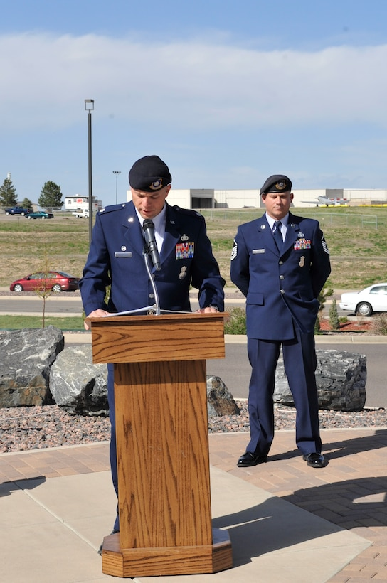 BUCKLEY AIR FORCE BASE, Colo. -- Lt. Col. Matthew Borschert, 460th Security Forces Squadron commander, gives remarks at the National Police Week retreat ceremony May 10. (U.S. Air Force photo by Airman 1st Class Paul Labbe)