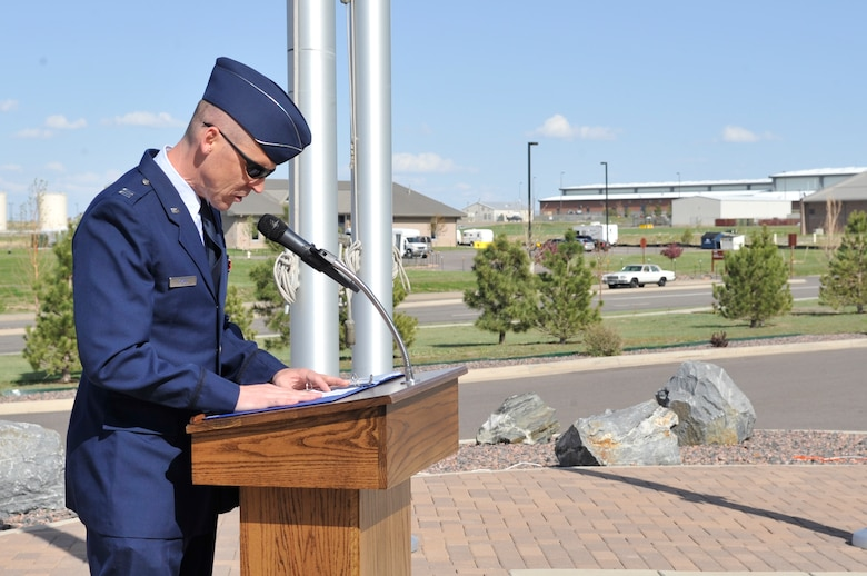 BUCKLEY AIR FORCE BASE, Colo. -- Chaplain (Capt.) Randy Croft, 460th Space Wing Chapel, gives the invocation at the National Police Week retreat ceremony May 10. (U.S. Air Force photo by Airman 1st Class Paul Labbe)