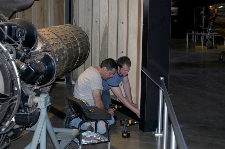 DAYTON, Ohio (05/2010) -- In preparation for the 60th anniversary of the Korean War, the National Museum of the U.S. Air Force is renovating its Korean War exhibit. Here, exhibits specialists assemble walls. (U.S. Air Force photo)