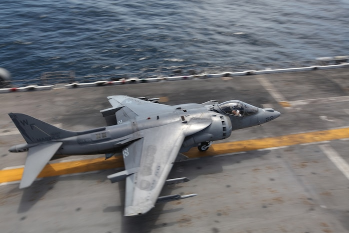 """Capt. Tyler """"Chicken"""" Sanders takes off from the USS Bonhomme Richard off the coast of San Clemente Island, Calif., May 26, 2010. The squadron supported the first Exercise Dawn Blitz, an exercise that affords Marines and sailors an opportunity to practice large-scale amphibious assault operations that combine long-range support and close-air support over a two-week period."""