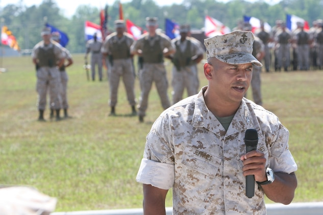 Col. Edward M. Jeffries Jr. talks to all in attendance after taking command of the of the Marine Special Operations Regiment at the MARSOC headquarters building on May 27. Jeffries took command from Col. Dan R. Masur Jr. Masur's next assignment will be as the MARSOC assistant chief of staff, G-3.