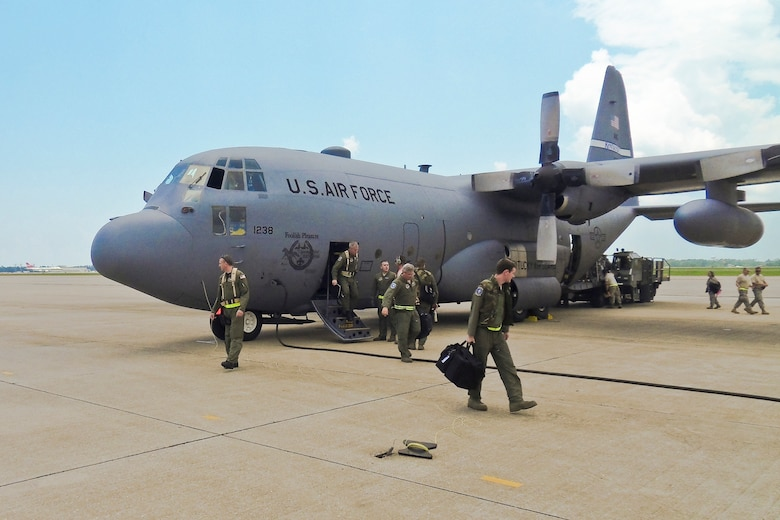 Members of the 123rd Airlift Wing arrive at the Gulfport Combat Readiness Training Center in Gulfport, Miss., on May 18, 2010. The wing and two other units were being evaluated by the Air Mobility Command Inspector General as part of the first-ever homeland security/homeland defense Operational Readiness Inspection. (U.S. Air Force photo/Tech. Sgt. Dennis Flora)(Released)