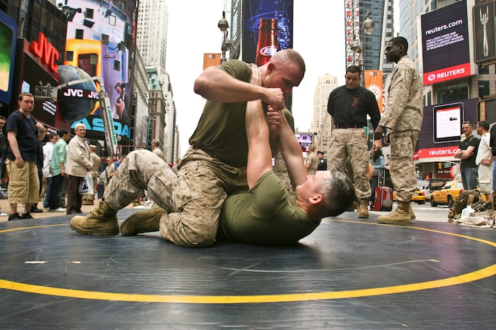 Marines with Special Marine Ground Task Force demonstrated the Marine Corps Martial Arts Program as well as displayed weaponry in support of Fleet Week New York City 2010.  More than 3,000 Marines, Sailors and Coast Guardsmen will be in the area participating in community outreach events and equipment demonstrations. This is the 26th year New York City has hosted the sea services for Fleet Week.