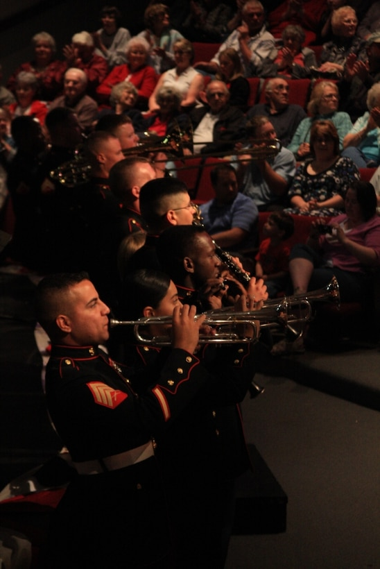 Twenty-one members of the Combat Center Band perform for the residents of Reedsport, Ore., May 30 during a concert showcasing a variety of music for the small town of roughly 4,000 people.