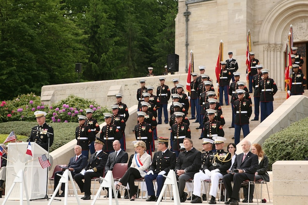 Commandant of the Marine Corps Gen. James T. Conway gives remarks during a Memorial Day service in honor of the 93rd anniversary of the Battle for Belleau Wood at the Aisne-Marne American Cemetery. This year's ceremony marks the first time in 93 years that the Marines of the 5th and 6th Marine Regiments have returned to the battlefield together to honor their fallen comrades. More than 1,800 Marines from the 5th and 6th Regiments lost their lives in the 21-day battle that stopped the last German offensive in 1918.