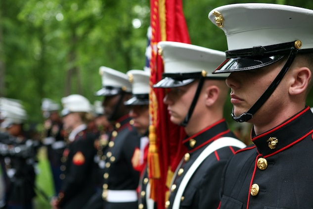 The color guard from Fleet Anti-Terrorism Security Team Rota, Spain stand at the Iron Mike memorial area in the heart of Belleau Wood during a wreath laying ceremony in honor of the more than 1,800 Marines who died in the World War I Battle for Belleau Wood.