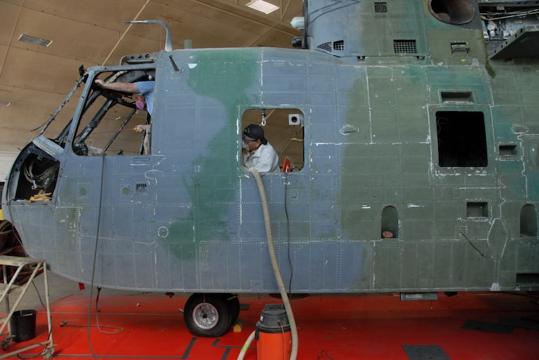"DAYTON, Ohio - Historic HH-3 ""Jolly Green"" undergoing restoration work at the National Museum of the U.S. Air Force. (U.S. Air Force Photo)"