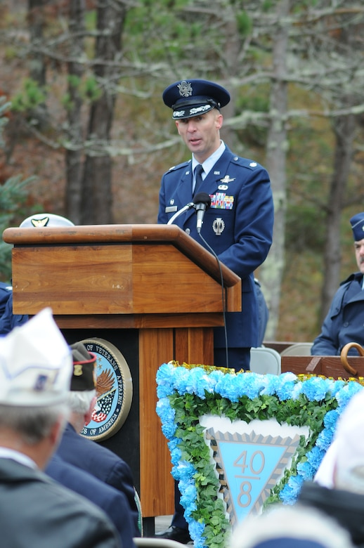 On November 7, 2010, a Veterans Day ceremony was held at the Massachusetts National Cemetery in Bourne, Mass., to remember veterans of the United States military. In this photo Lt. Col. Shawn A. Smith, 6th Space Warning Squadron Commander, gave the main address at the ceremony which marked the 91st anniversary of Veterans Day.