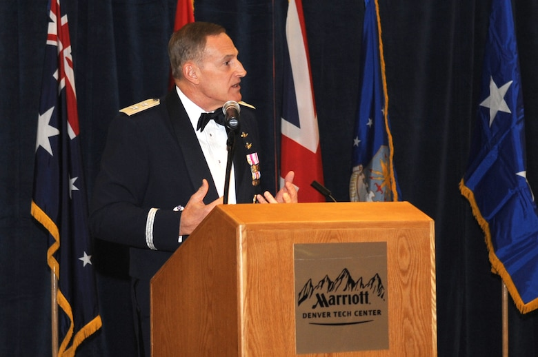 BUCKLEY AIR FORCE BASE, Colo.--Maj. Gen. Michael J. Basla, vice commander of Air Force Space Command, was the keynote speaker at the 40th Anniversary of the Defense Support Program (DSPs) first satellite launch gala held by the 460th Space Wing on Nov. 6 2010.  (U.S. Air Force Photo by Airman Manisha Vasquez)