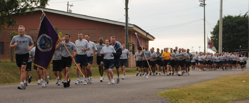 SOTO CANO AIR BASE, Honduras --  Col. Gregory Reilly, the Joint Task Force-Bravo commander, leads Team Bravo in the monthly JTF-Bravo Run here Nov. 10. The run encourages a fitness lifestyle and esprit de corps. (U.S. Air Force photo/Tech. Sgt. Benjamin Rojek)