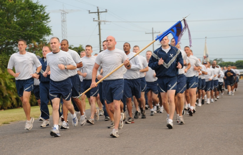SOTO CANO AIR BASE, Honduras --  The 612th Air Base Squadron runs in formation as part of the monthly Joint Task Force-Bravo Run here Nov. 10. The run encourages a fitness lifestyle and esprit de corps. (U.S. Air Force photo/Tech. Sgt. Benjamin Rojek)