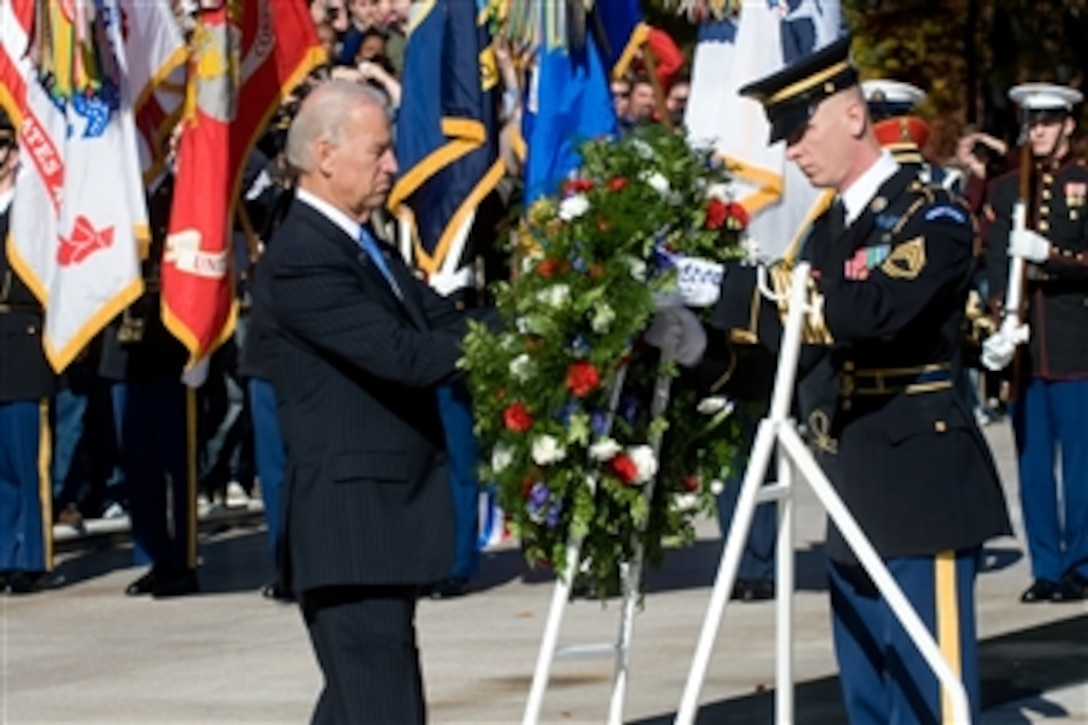 Vice President Joe Biden lays a wreath at the Tomb of the Unknown Soldier during a Veteran's Day ceremony at Arlington National Cemetery on Nov. 11, 2010.