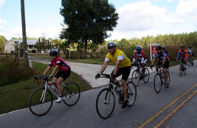 U.S. Marines and Staff Members from Wounded Warrior Regiment take part in a 40-mile training ride here Nov. 12 as part of the regiment's Warrior Athlete Reconditioning Program cycling camp.